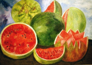 Ode to the Watermelon, poem by Pablo Neruda with art by Frida Kahlo