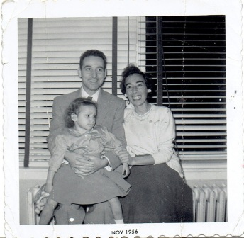 Robbi at 3, 1956, with mom and dad