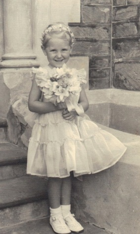 Ros as flowergirl aged seven 001