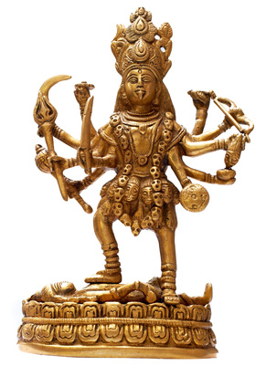 Golden Hindu Goddess Kali isolated over white