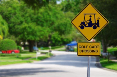 Golf Cart Crossing Sign on Residential Street