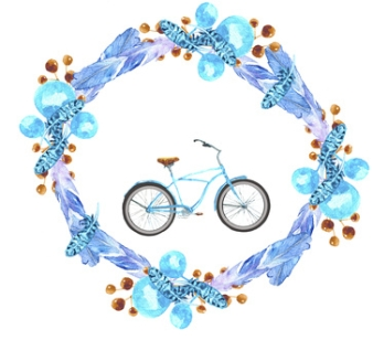 Wreath and bike. Watercolor drawing. Can be used for printing and design