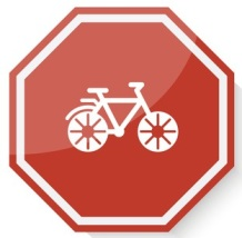 White Bicycle icon on red stop sign web app