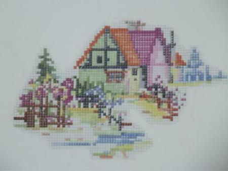 vintage-Crooksville-china-petitpoint-cottage-print-cake-plate-or-platter-Laurel-Leaf-Farm-item-no-u8464-2
