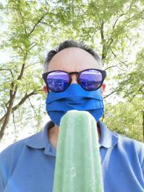 Blue mask, ice lolly