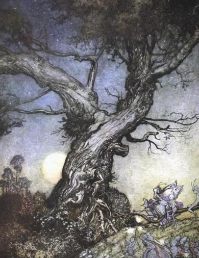 Fairy-folk-by-an-old-gnarled-tree-by-Arthur-Rackham.-