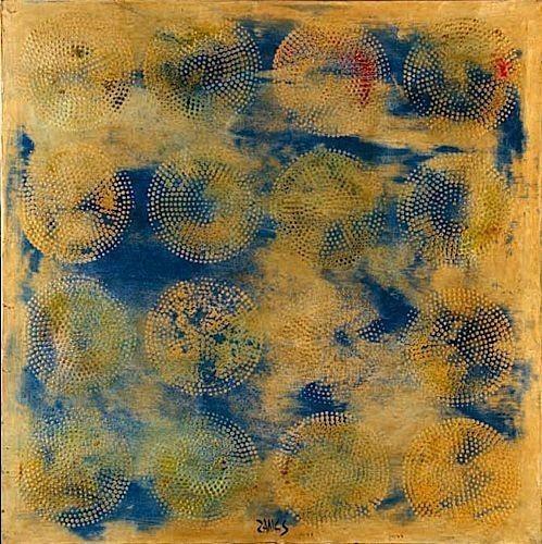 yellow-blue-16-multi-dot-circles-1969